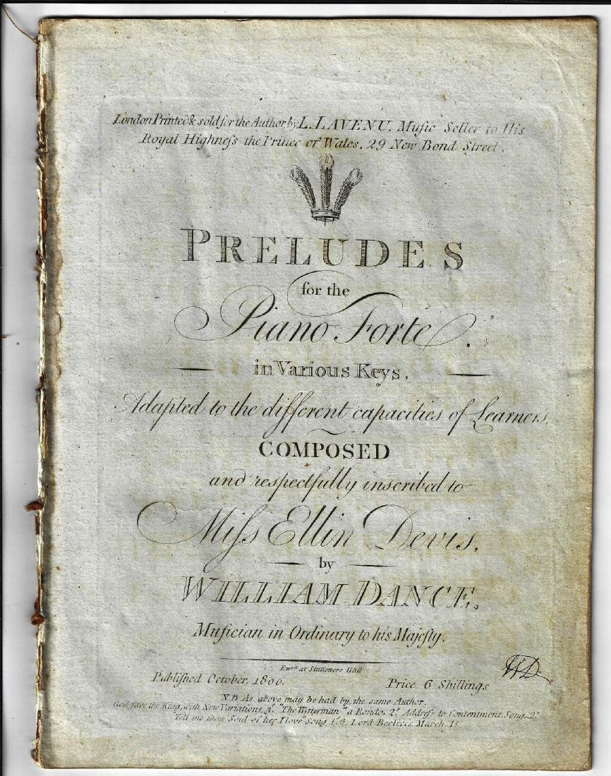 c1800 Preludes for the Piano Forte Engraved Music