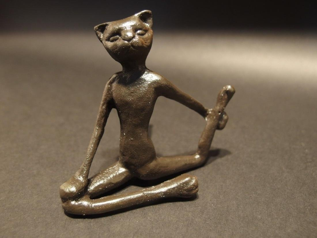 Cast Iron Yoga Pilates Cat Figurine Statue Paperweight