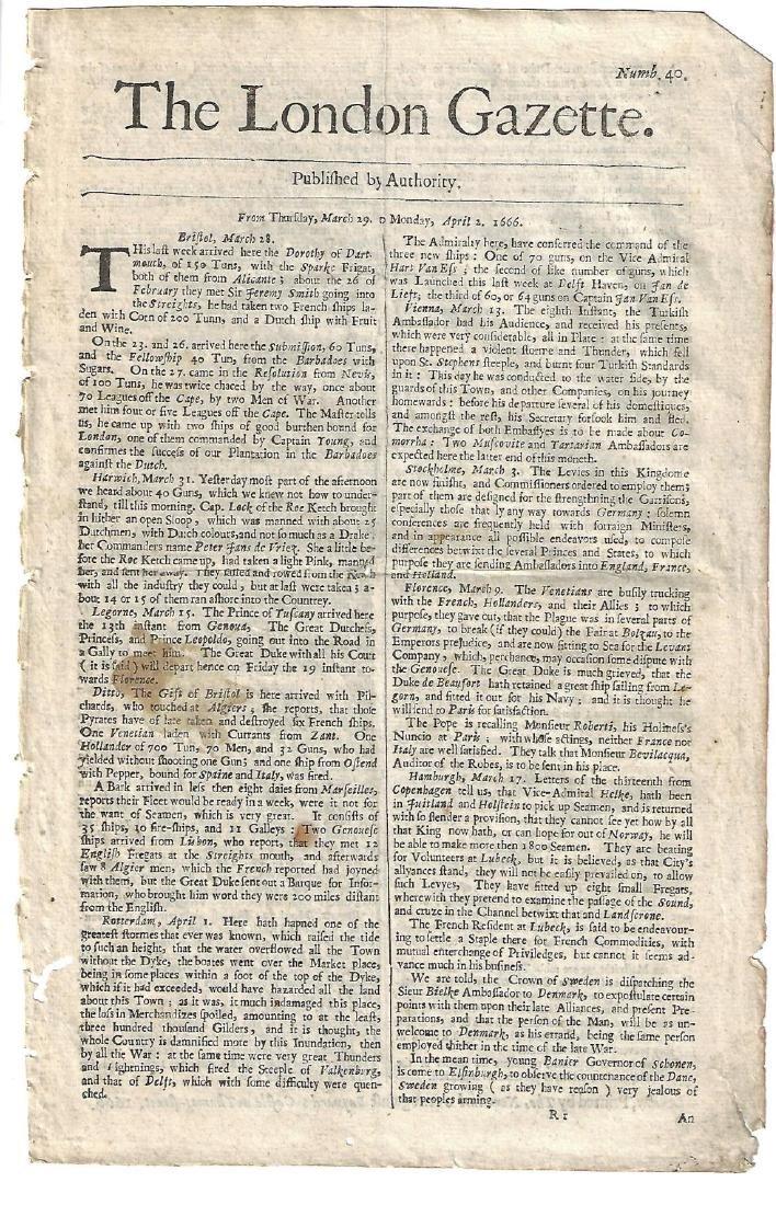 1666 London Gazette Barbadoes Ship