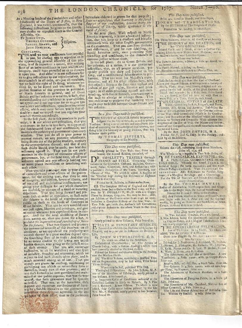 1767 London Chronicle Freeholders of Boston