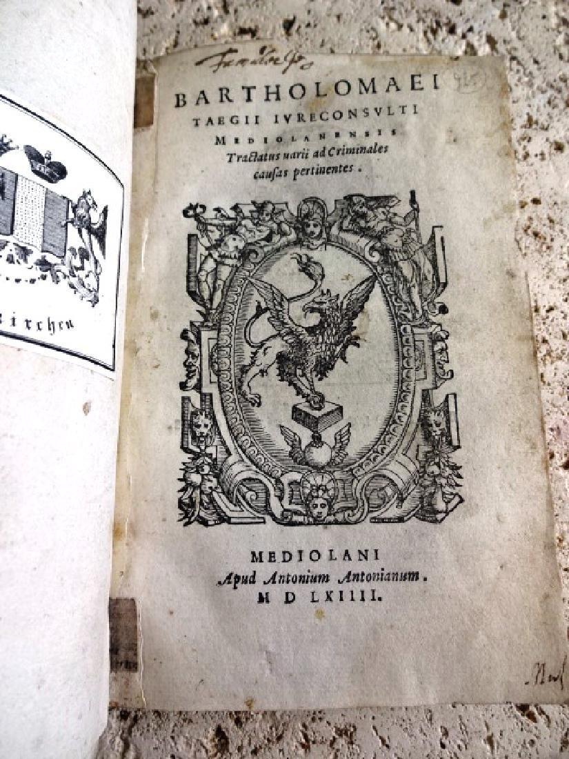 1564 Milan Imprint Vellum Binding Law