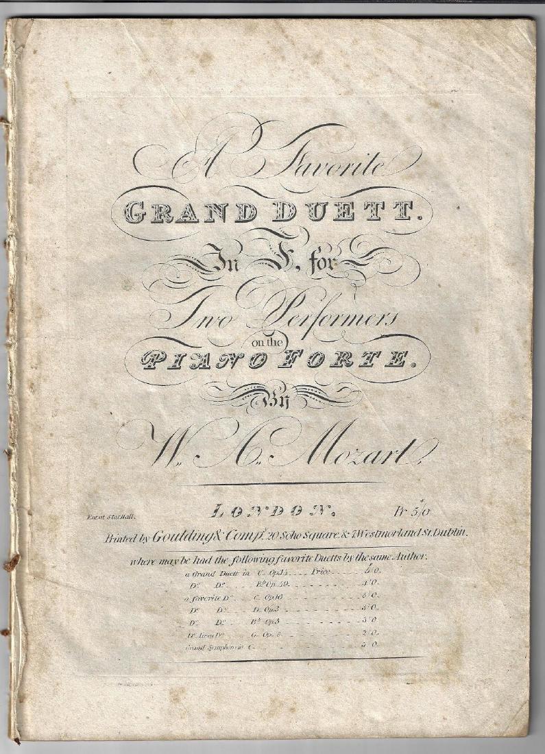 c1820 Mozart A Favorite Grand Duett in F