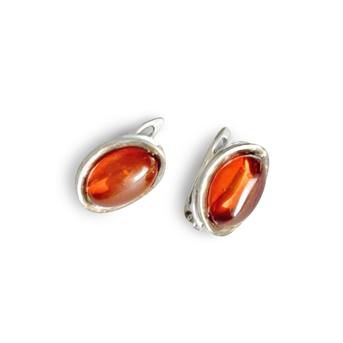 Earrings Sterling silver and Baltic amber, seal