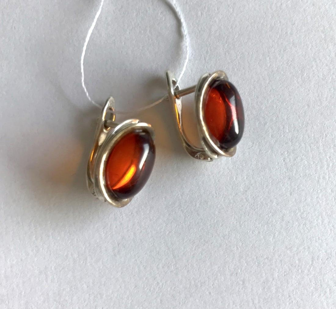 Earrings Sterling silver and Baltic amber, seal - 3