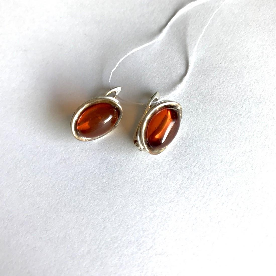 Earrings Sterling silver and Baltic amber, seal - 4