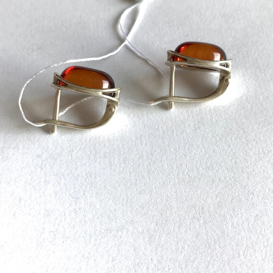 Earrings Sterling silver and Baltic amber, seal - 5