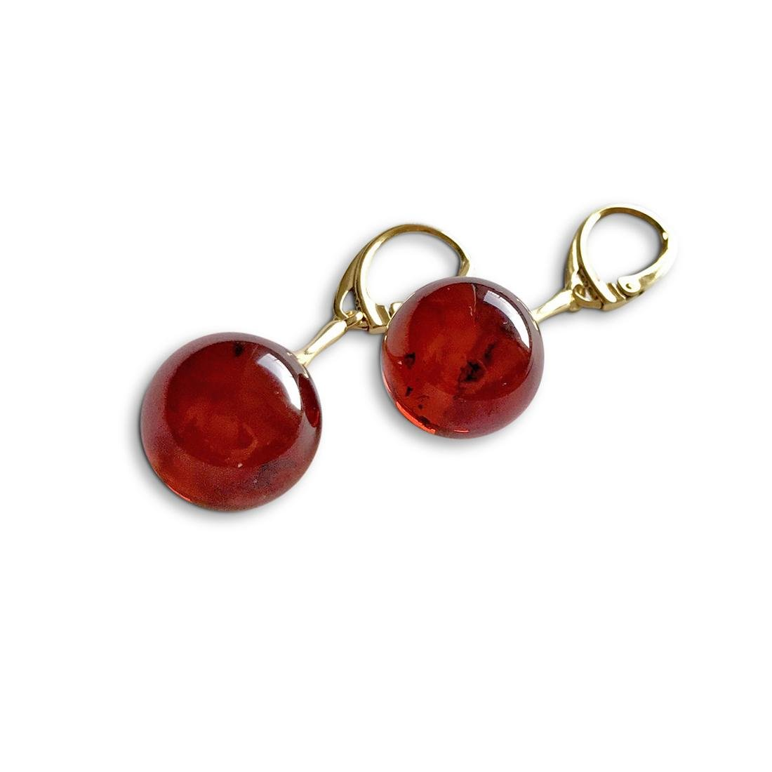 Earrings gold&silver Baltic amber balls 15mm