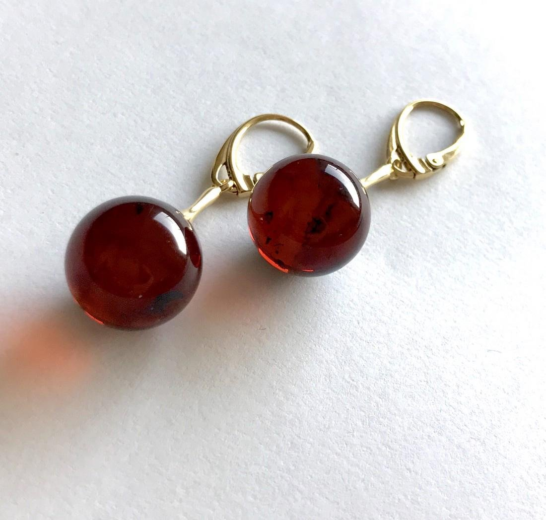 Earrings gold&silver Baltic amber balls 15mm - 3