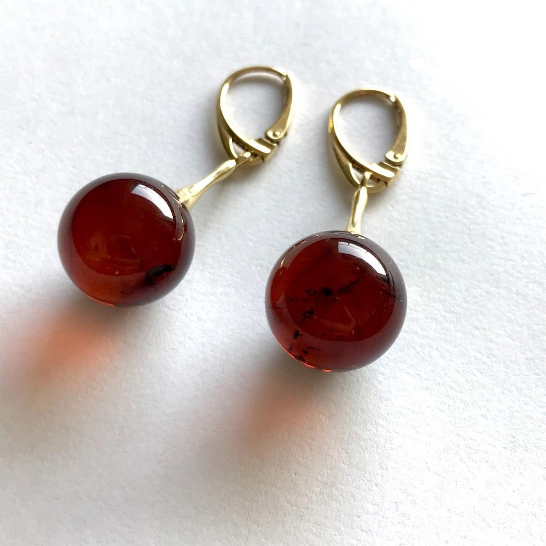Earrings gold&silver Baltic amber balls 15mm - 4