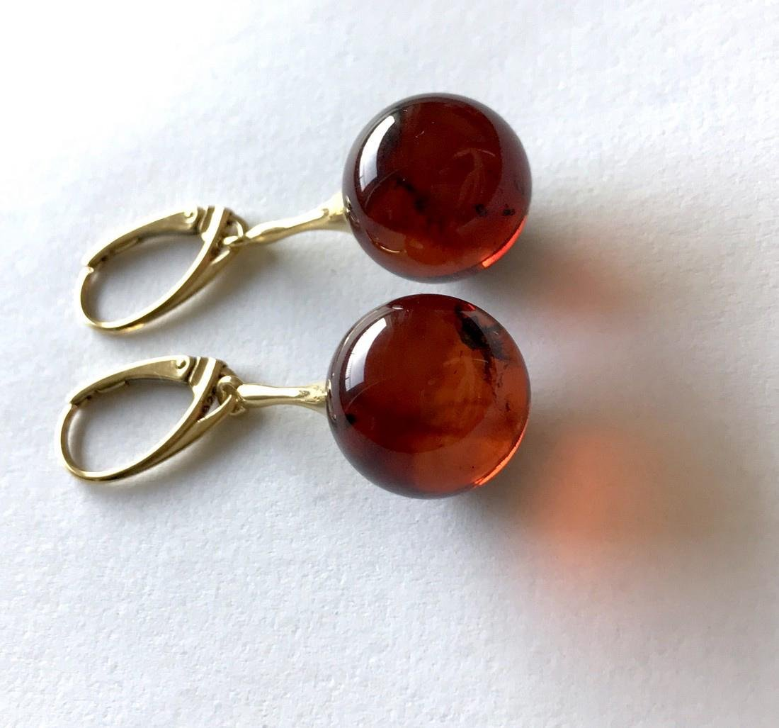 Earrings gold&silver Baltic amber balls 15mm - 5