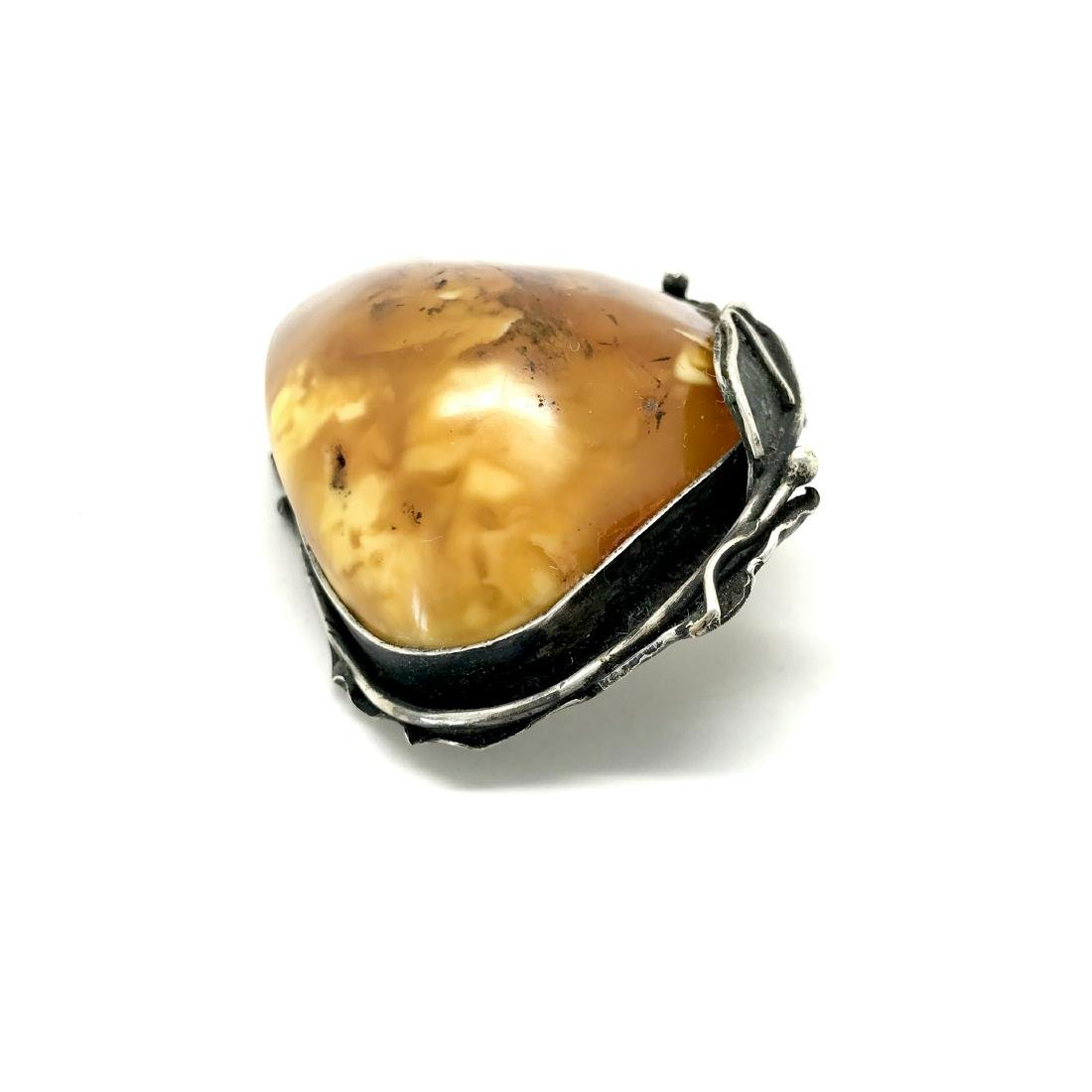 Old amber brooch in Sterling silver Baltic amber 30 gr - 5