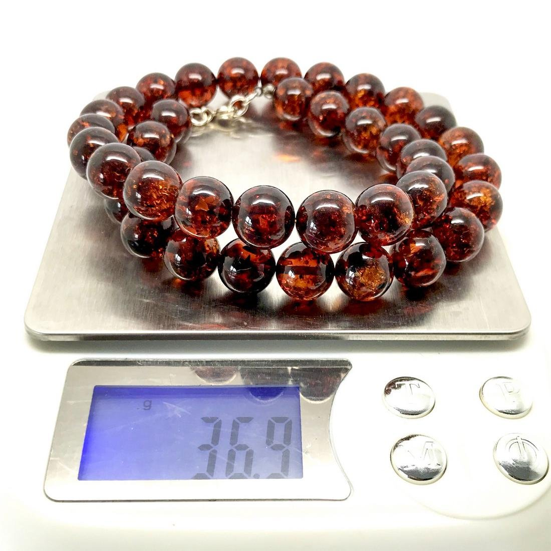 Baltic amber necklace 46cm Sterling silver fastening - 9