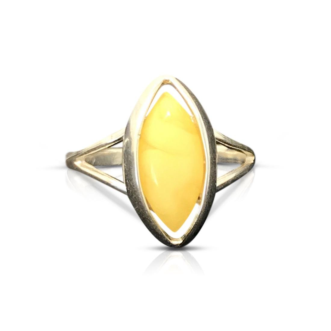 Sterling silver Baltic amber ring, sealed