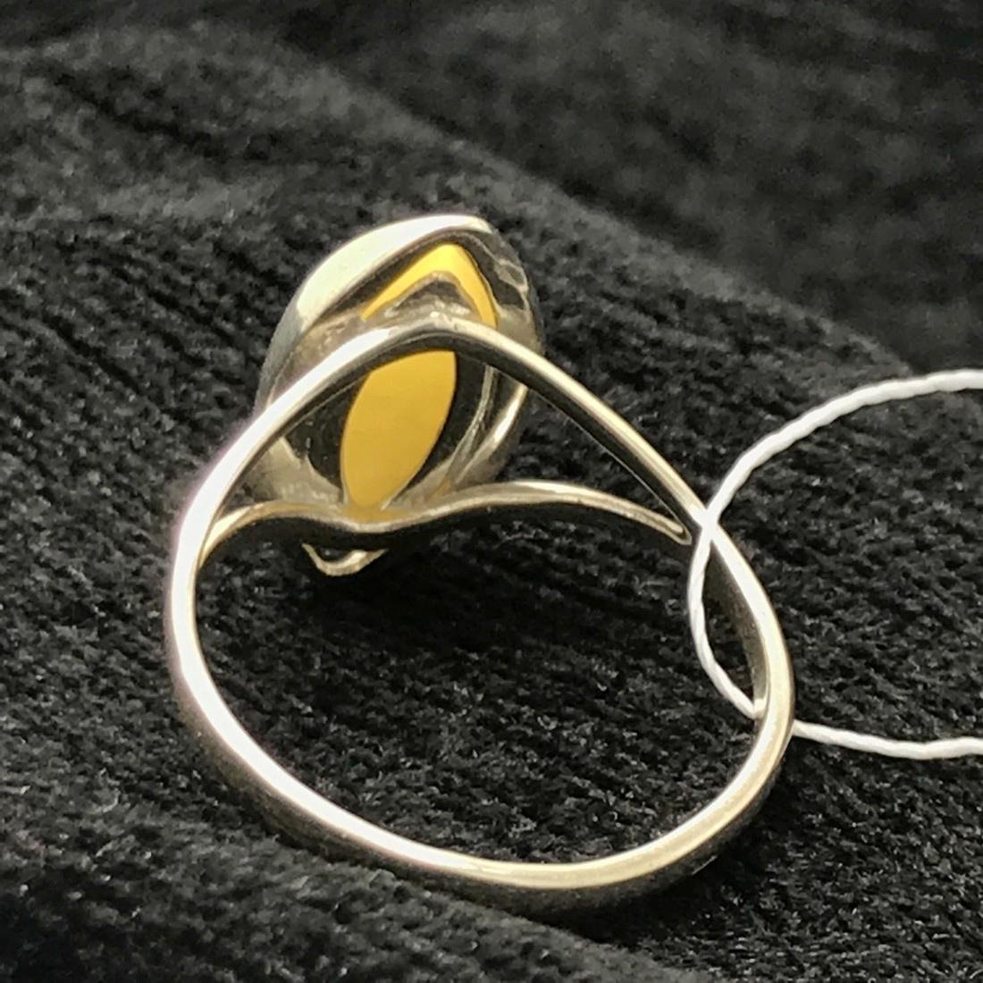 Sterling silver Baltic amber ring, sealed - 5