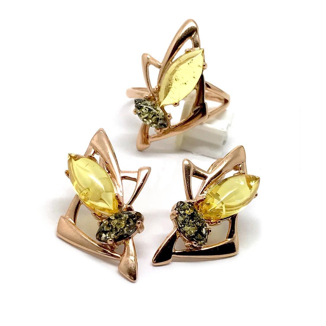 Baltic amber set Ring + Earrings Ag925 goldplated