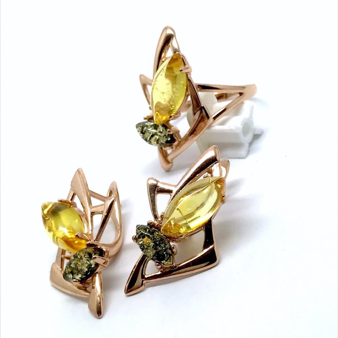 Baltic amber set Ring + Earrings Ag925 goldplated - 3