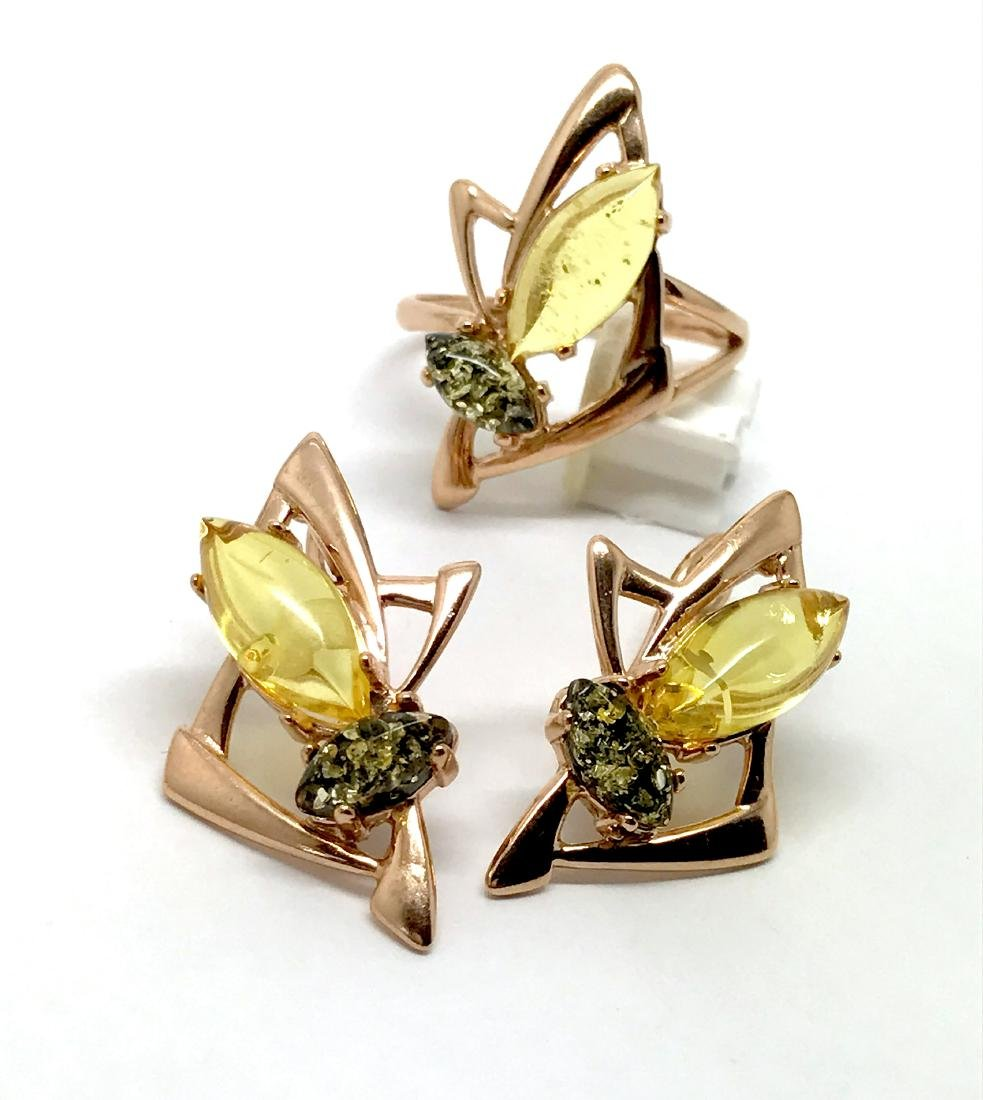 Baltic amber set Ring + Earrings Ag925 goldplated - 4