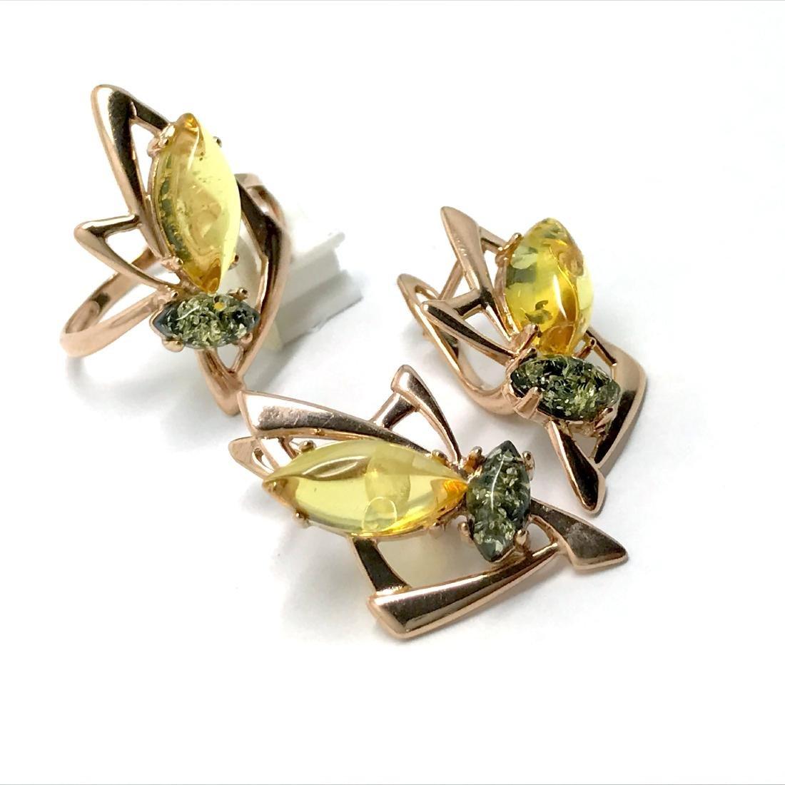 Baltic amber set Ring + Earrings Ag925 goldplated - 5