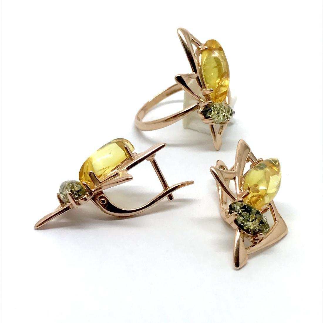 Baltic amber set Ring + Earrings Ag925 goldplated - 6