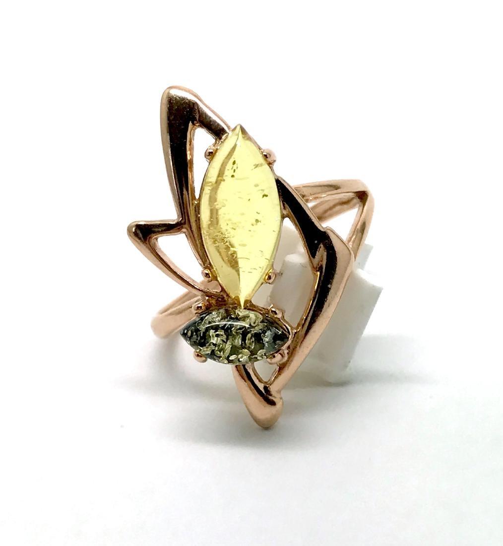Baltic amber set Ring + Earrings Ag925 goldplated - 7
