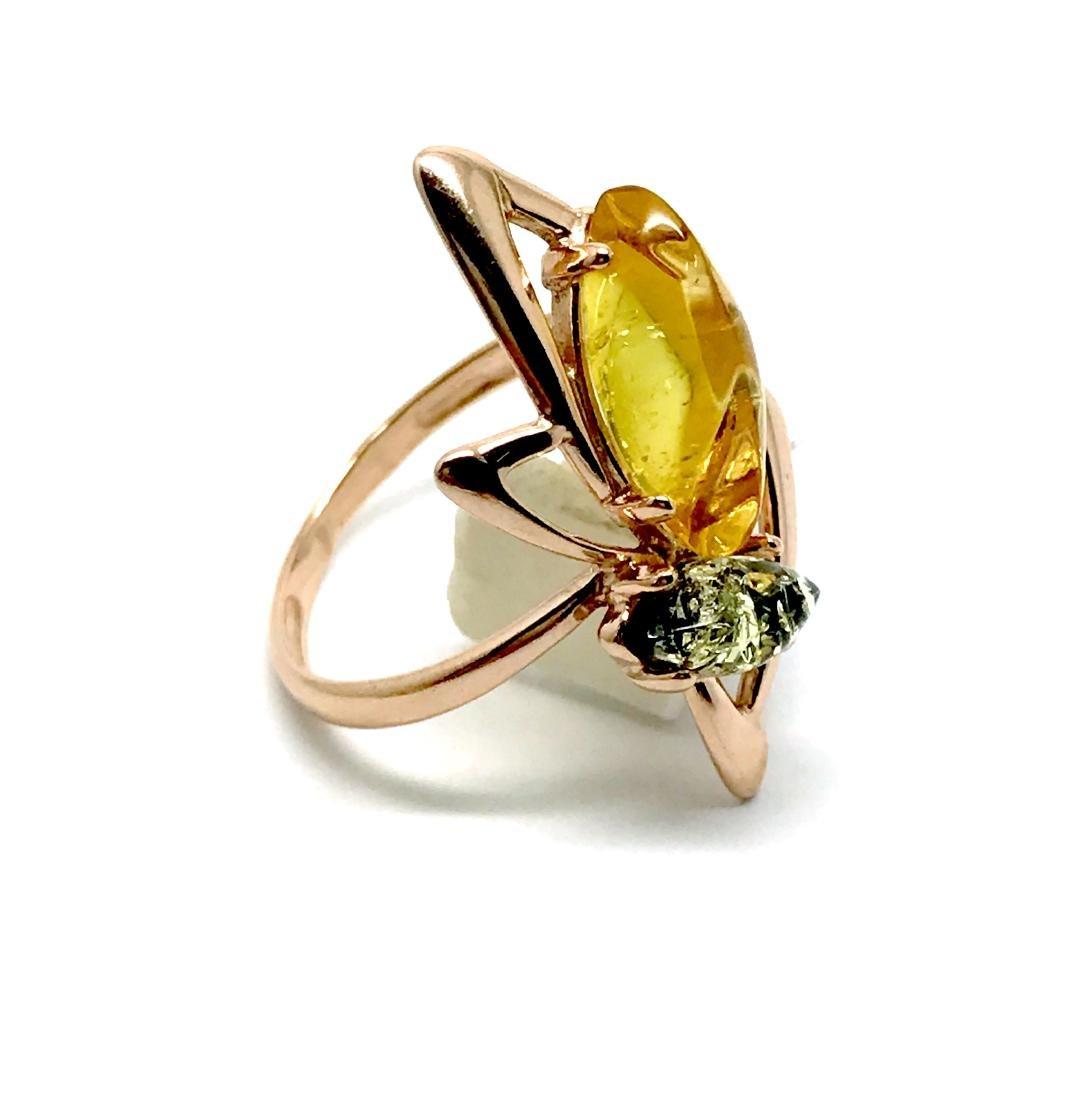 Baltic amber set Ring + Earrings Ag925 goldplated - 8