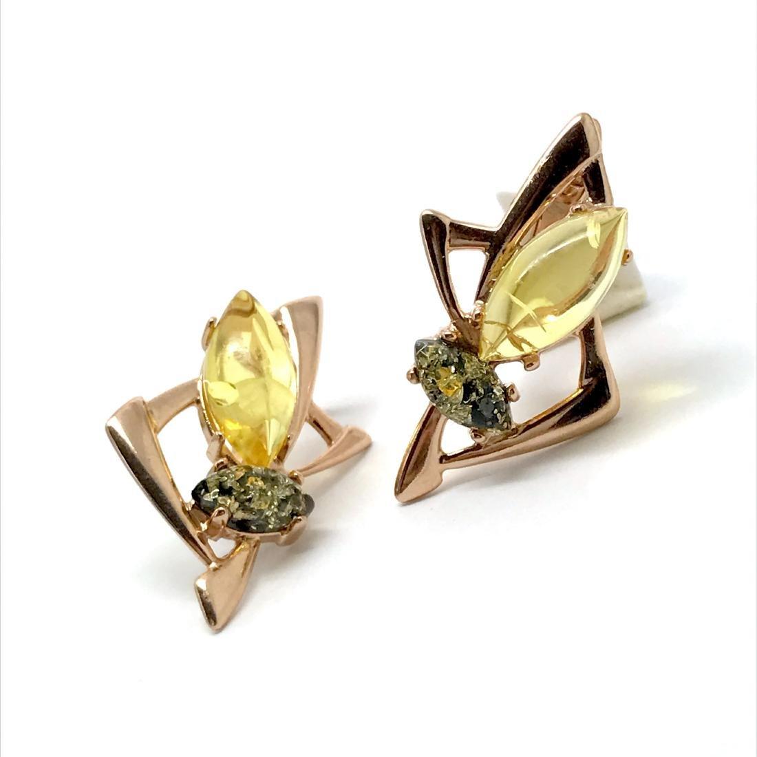 Baltic amber set Ring + Earrings Ag925 goldplated - 9