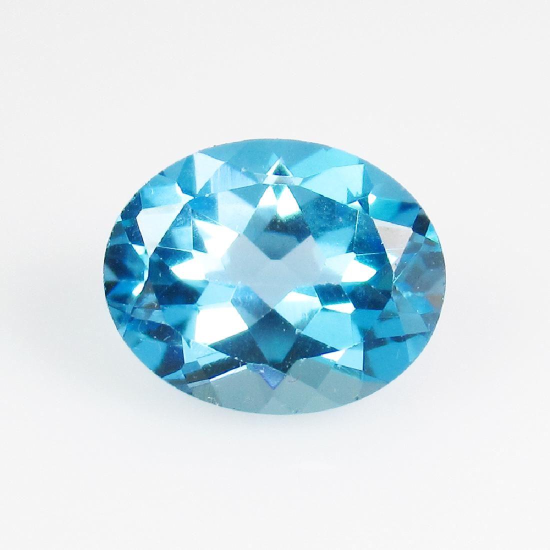 3.05 Ct Genuine Swiss Blue Topaz 10X8 mm Oval Cut