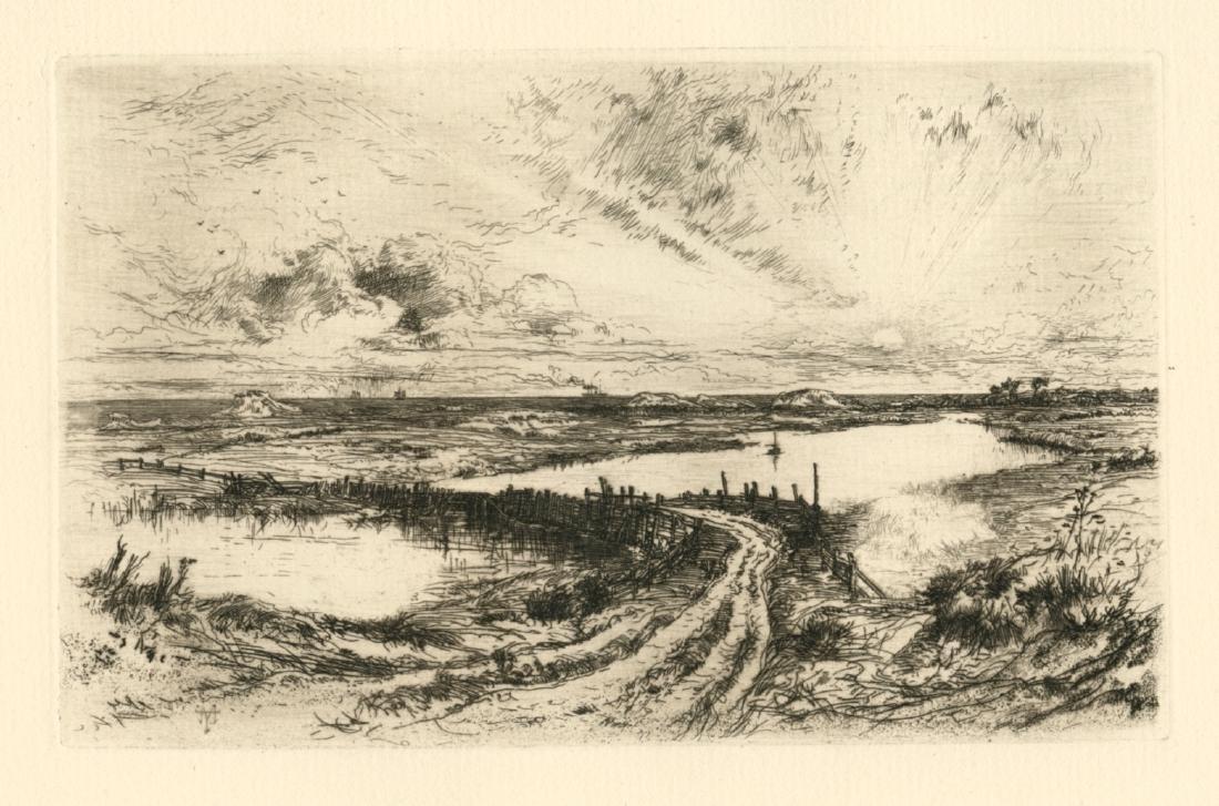 """Thomas Moran original etching """"The Rainbow"""""""