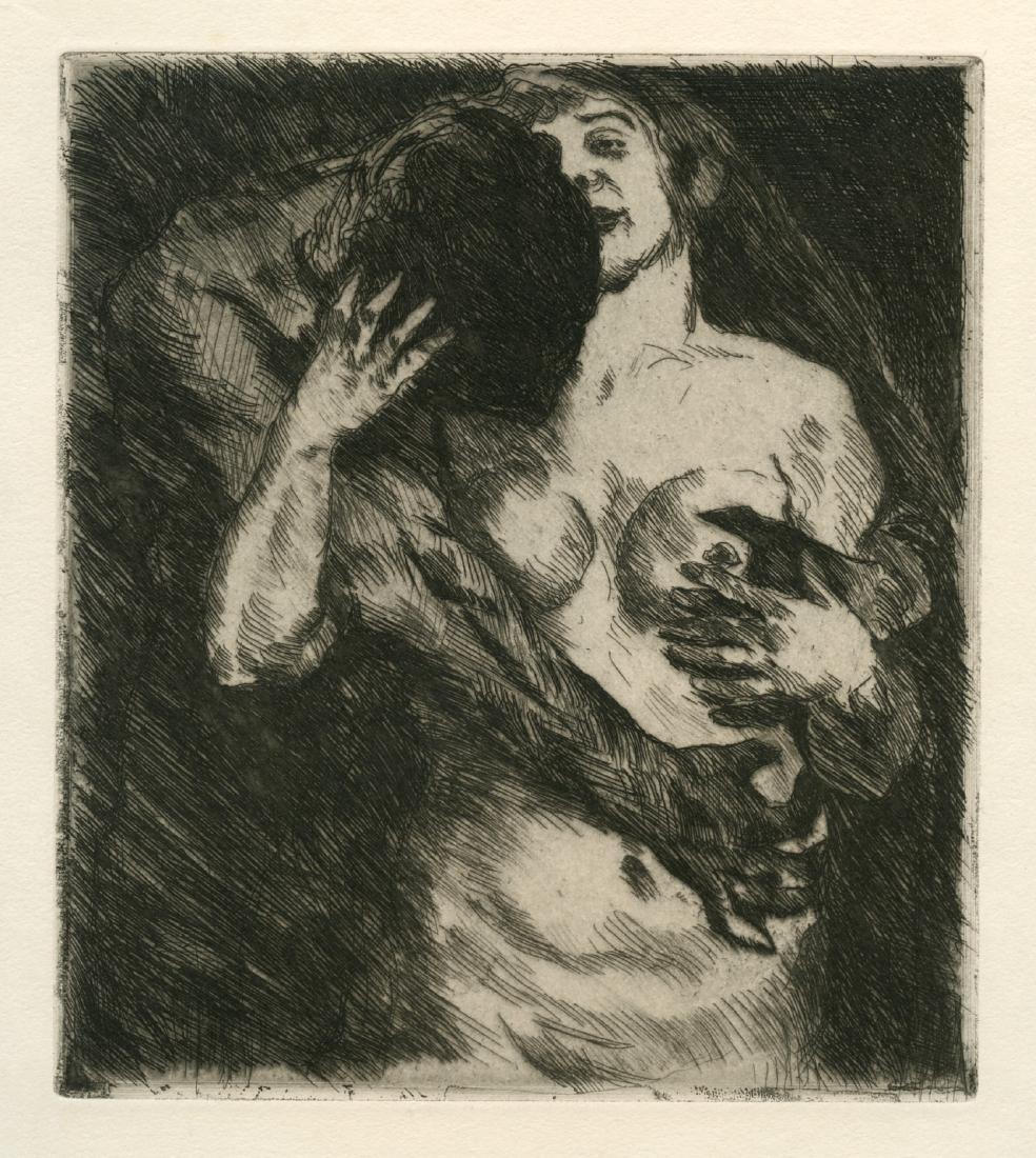 "Lovis Corinth original etching ""Umarmung"""