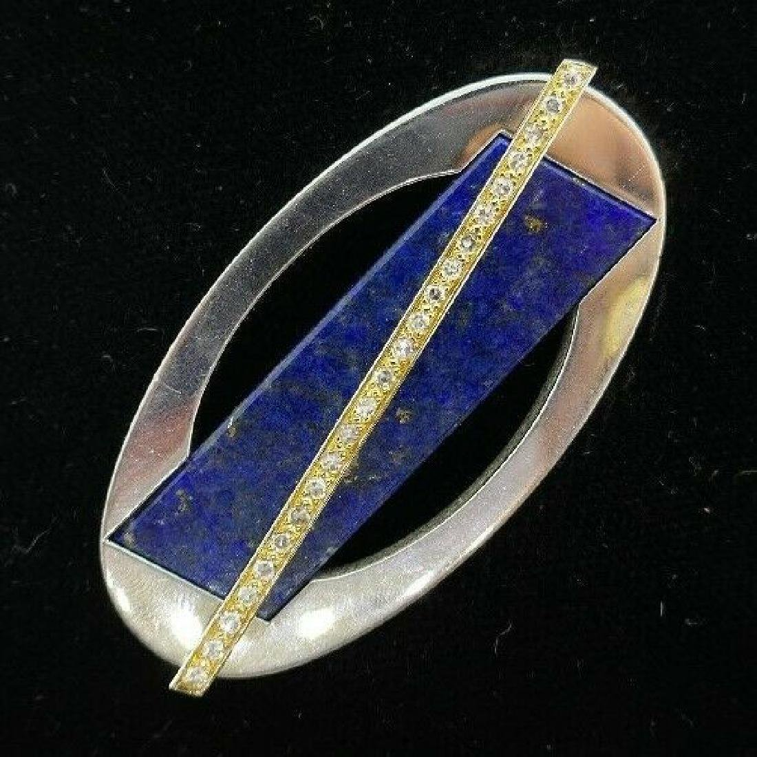 CARTIER London 18k Gold, Diamond & Lapis Brooch Clip