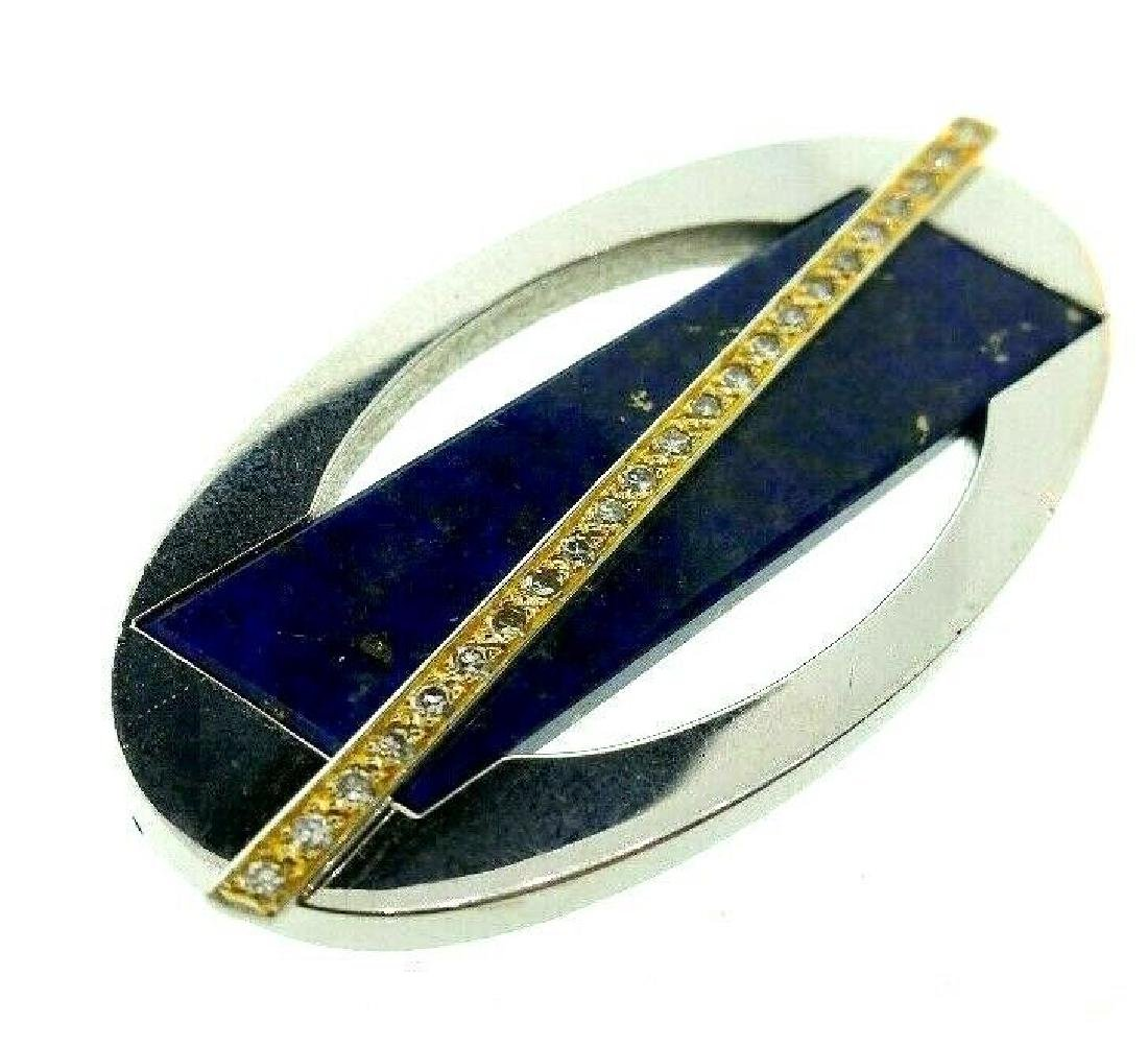 CARTIER London 18k Gold, Diamond & Lapis Brooch Clip - 4