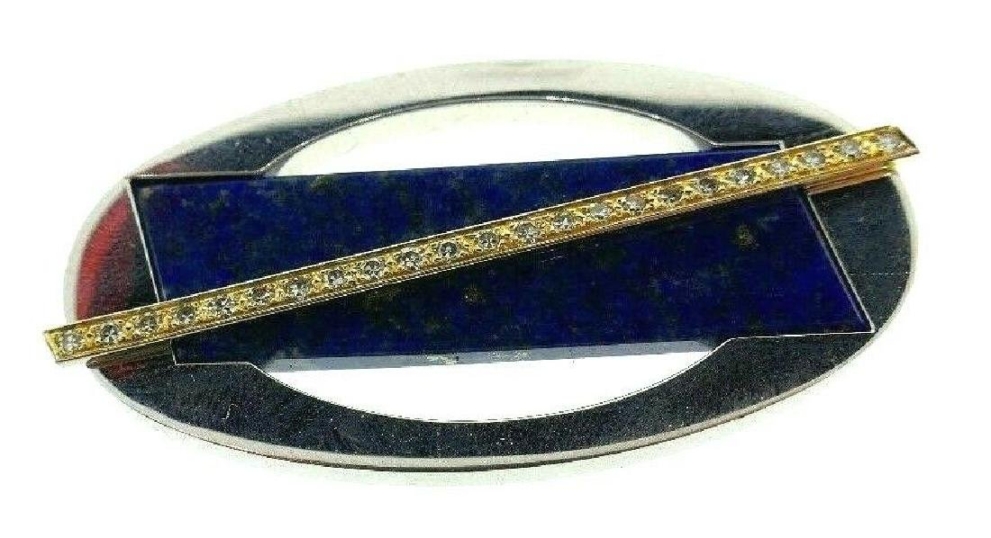 CARTIER London 18k Gold, Diamond & Lapis Brooch Clip - 5