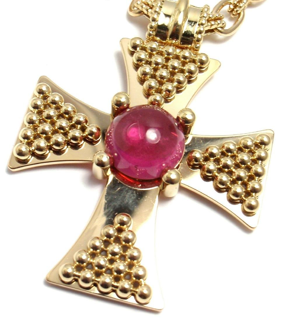 Rare! Authentic Chanel 18k Yellow Gold Pink Tourmaline - 10