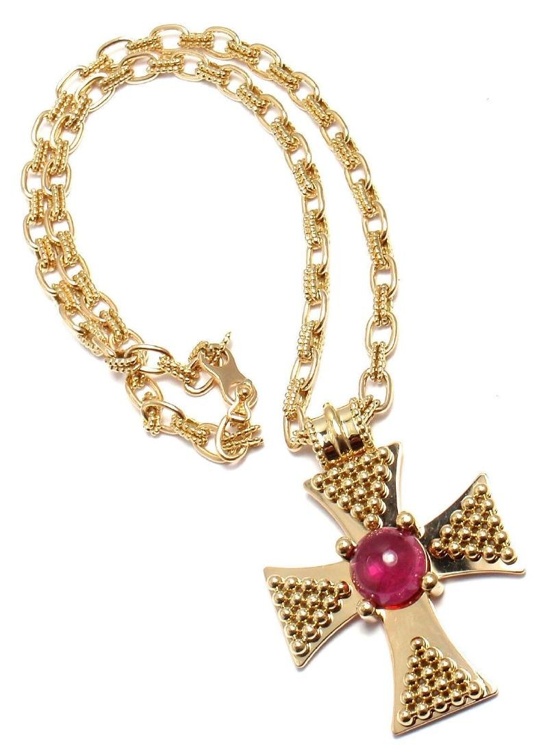 Rare! Authentic Chanel 18k Yellow Gold Pink Tourmaline - 2