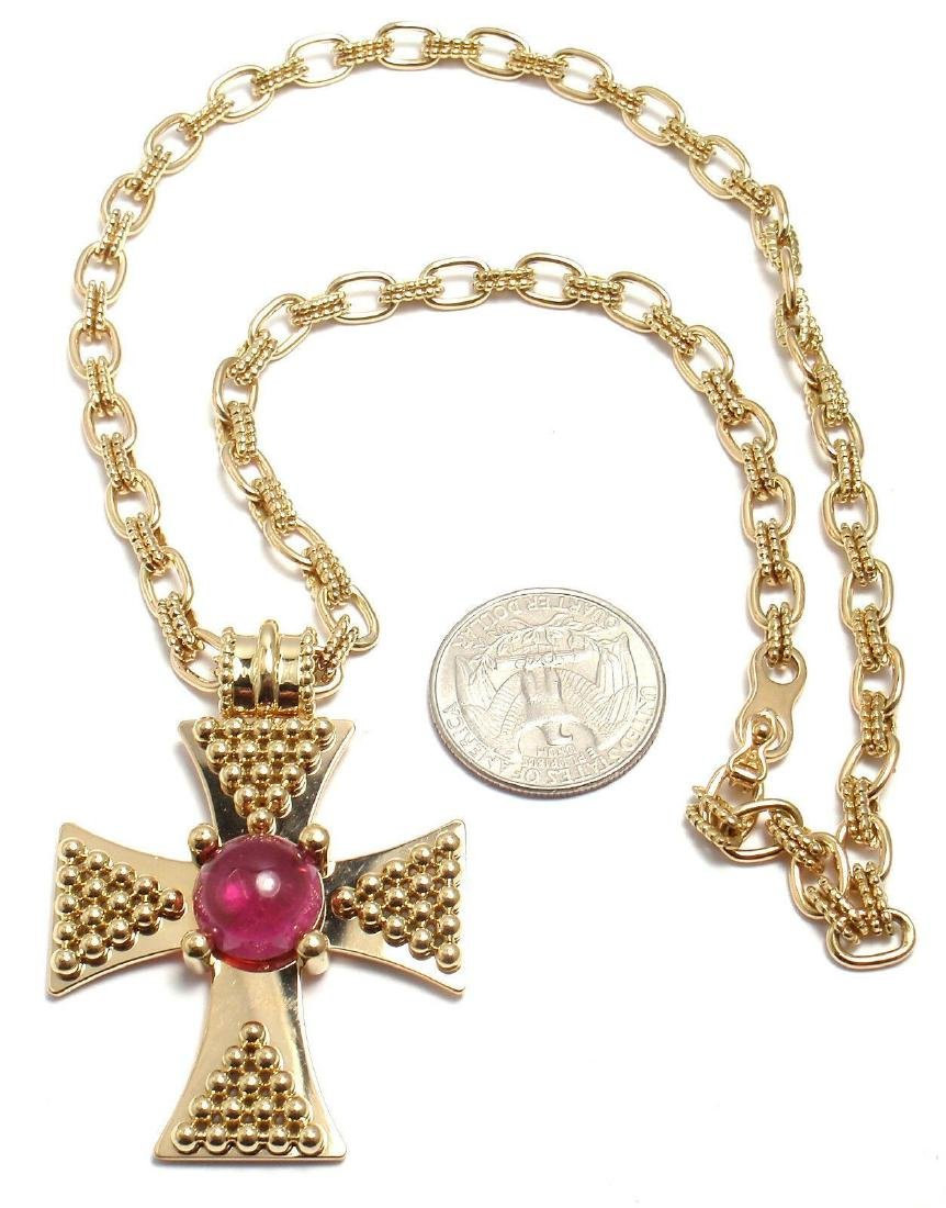 Rare! Authentic Chanel 18k Yellow Gold Pink Tourmaline - 3
