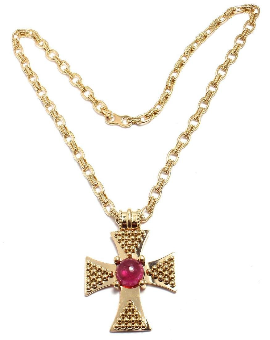 Rare! Authentic Chanel 18k Yellow Gold Pink Tourmaline - 4