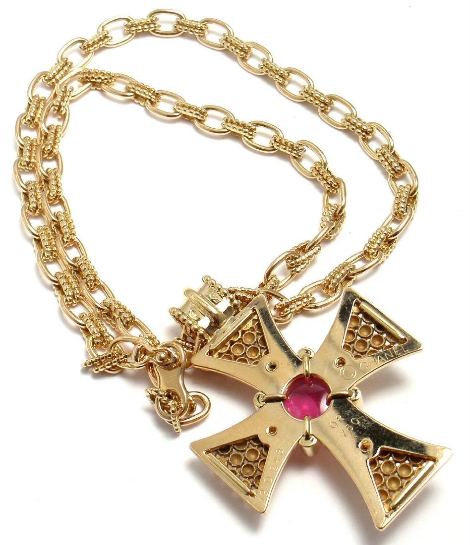 Rare! Authentic Chanel 18k Yellow Gold Pink Tourmaline - 6