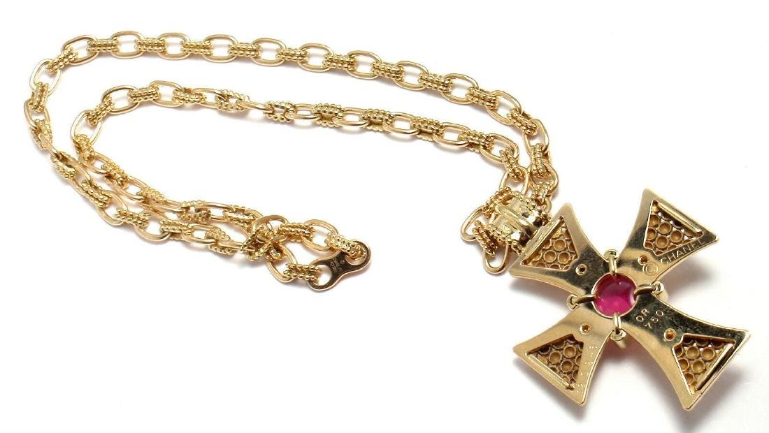 Rare! Authentic Chanel 18k Yellow Gold Pink Tourmaline - 9