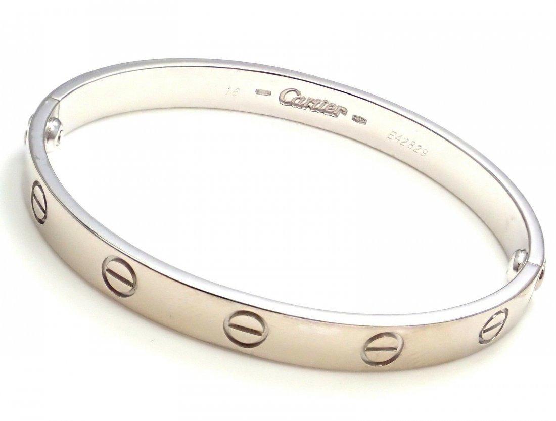 Authentic! CARTIER 18k White Gold Love Bangle Bracelet