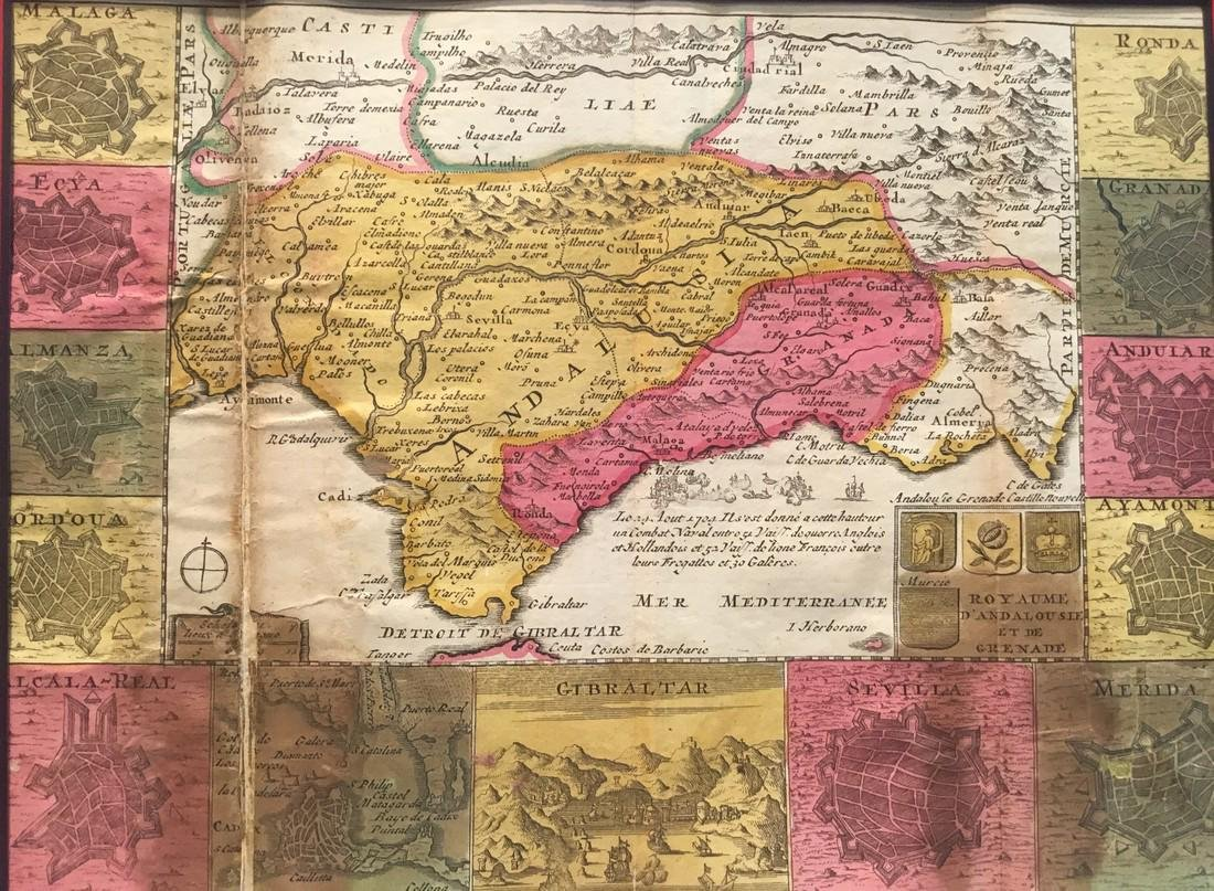 Rare map of Andalusia, Spain.