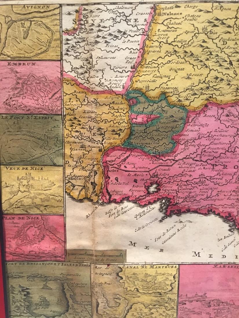 Rare map of Provence, France, with multiple city views. - 3
