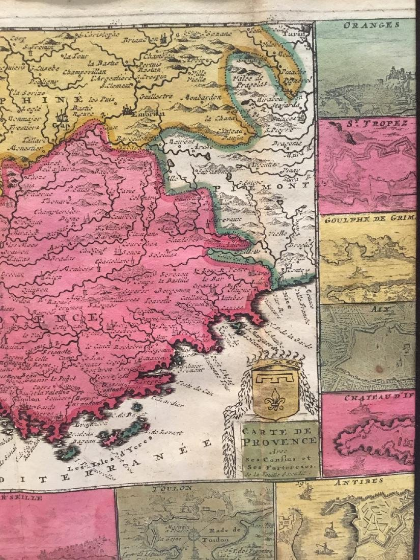Rare map of Provence, France, with multiple city views. - 4