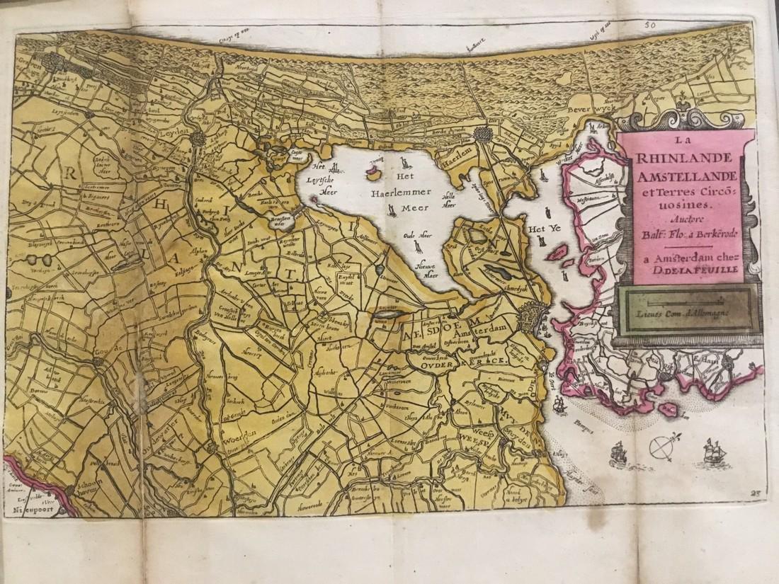 Rare map of The waterways around Amsterdam and Harlem.