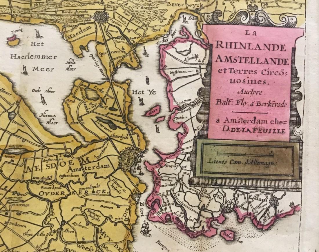 Rare map of The waterways around Amsterdam and Harlem. - 2