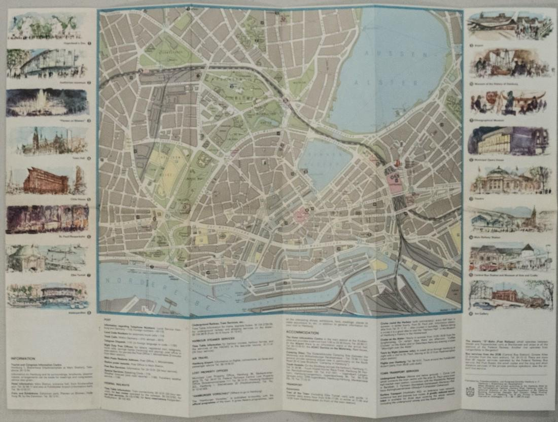 1960s Tourist Pictorial Map of Hamburg, Germany --