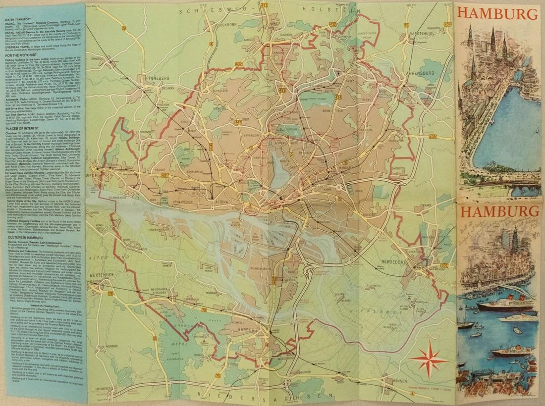 1960s Tourist Pictorial Map of Hamburg, Germany -- - 2
