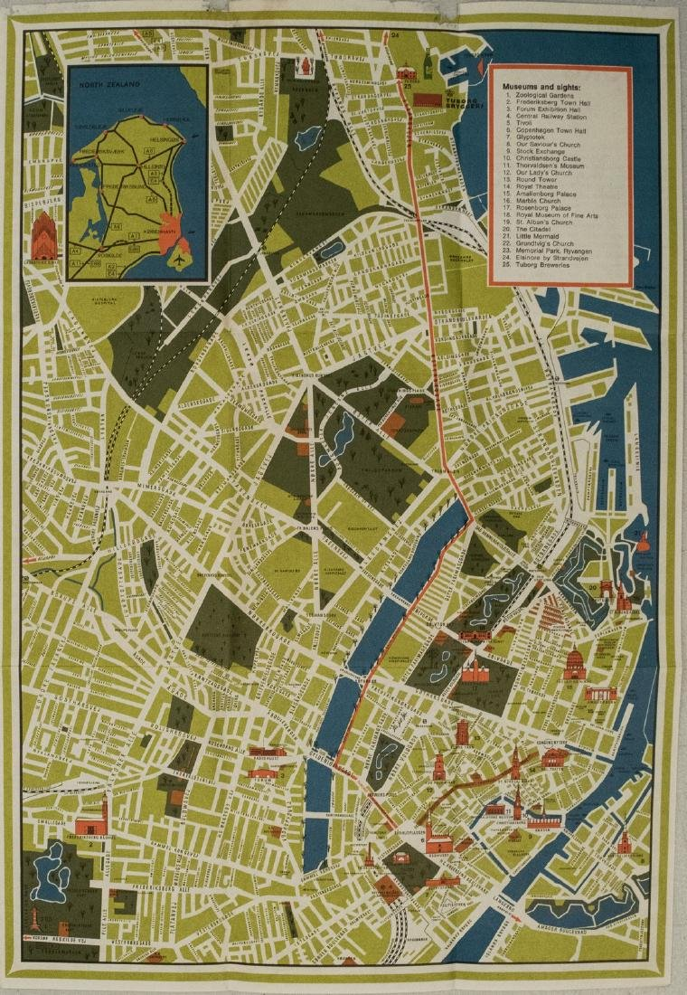 1950s Tuborg Brewery's Tourist Pictorial Map of