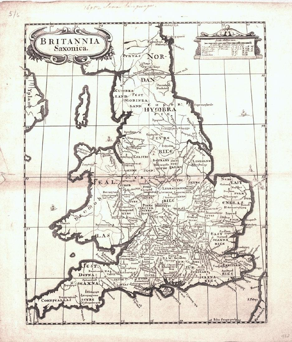 1695 Morden Map of England During Saxon Times --