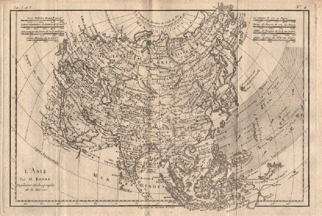 L'Asie. Asia, showing the trade winds. BONNE 1780 old