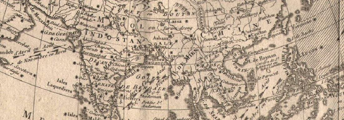 L'Asie. Asia, showing the trade winds. BONNE 1780 old - 2